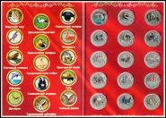 """Коллекционный набор монет 1 рубль с цветной эмалью """"Красная книга"""" + альбом"""