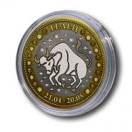 ТЕЛЕЦ, монета 10 рублей, с гравировкой, знаки ЗОДИАКА