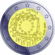 2 евро 2015 30 лет флагу ЕС UNC Латвия