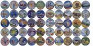 """Набор цветных квотеров """"Штаты и территории США"""" 55 монет + альбом в подарок"""