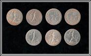 Серебро РСФСР, 50 копеек(полтинник) 1921АГ, 1922ПЛ, 1924ПЛ, 1924ТР, 1925ПЛ, 1926ПЛ, 1927ПЛ.Отличные