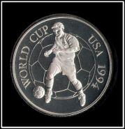 Ямайка 25 долларов 1994 Футбол США Серебро (монета большая, кроновый размер)