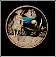 1 доллар Тувалу 2011 Знаменитые пираты Калико Джек Корабль Парусник позолота, сувенирная