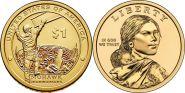 1$ Сакагавея 2015 г Могавки-строители монетный двор D и P из ролла