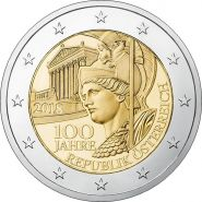 Австрия 2 евро 2018 100 лет Австрийской Республике UNC