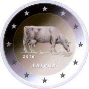 Латвия 2 евро 2016 Сельское хозяйство Корова UNC
