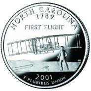 25 центов США 2000г - Северная Каролина, UNC - Серия Штаты и территории